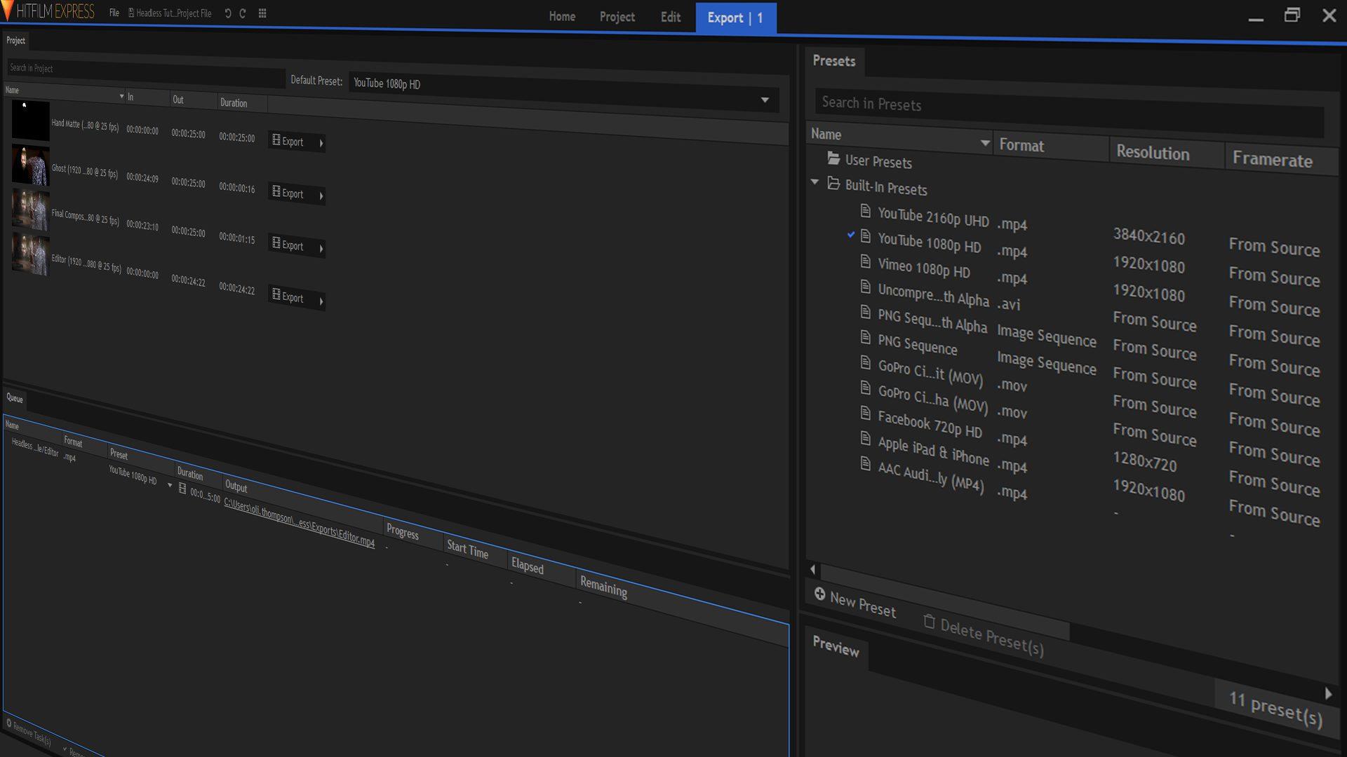 HitFilm Pro interface swing