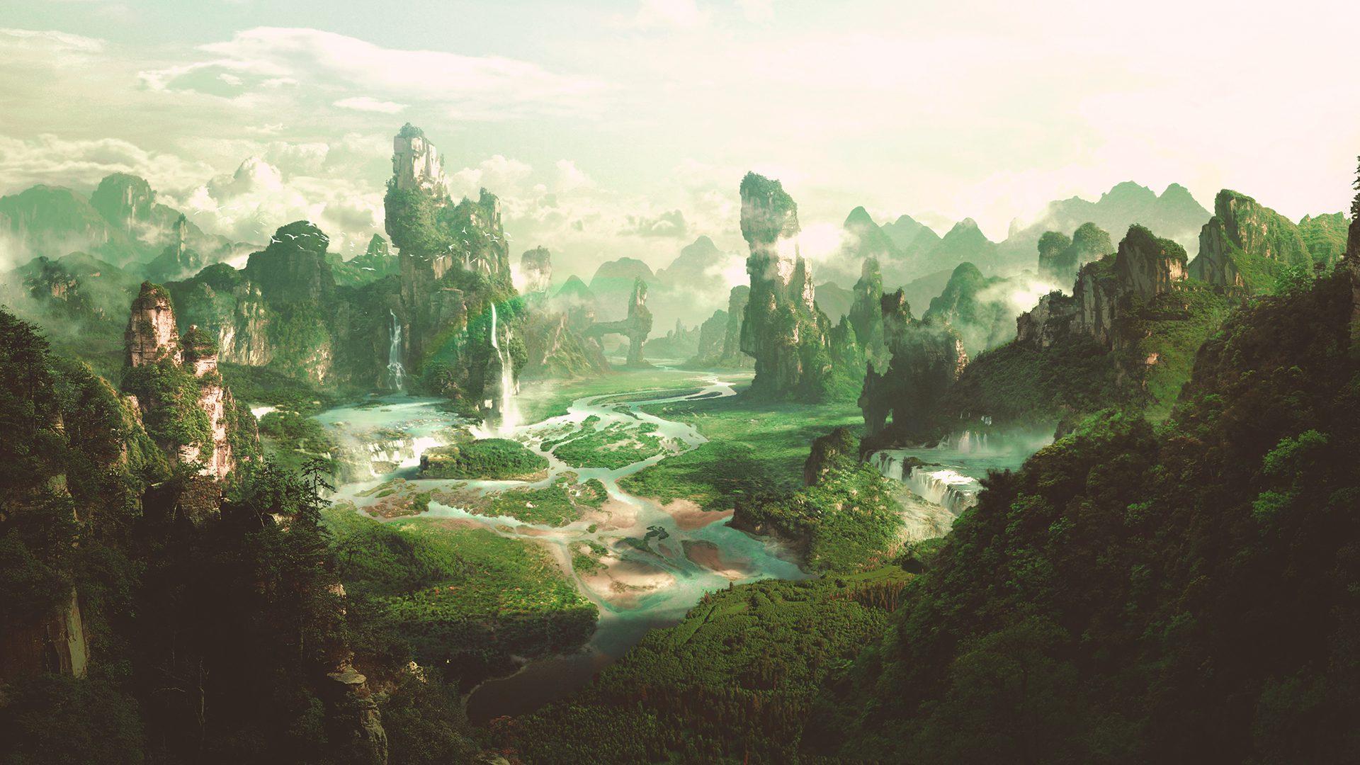 Landscape matte painting of alien world for VFX shots