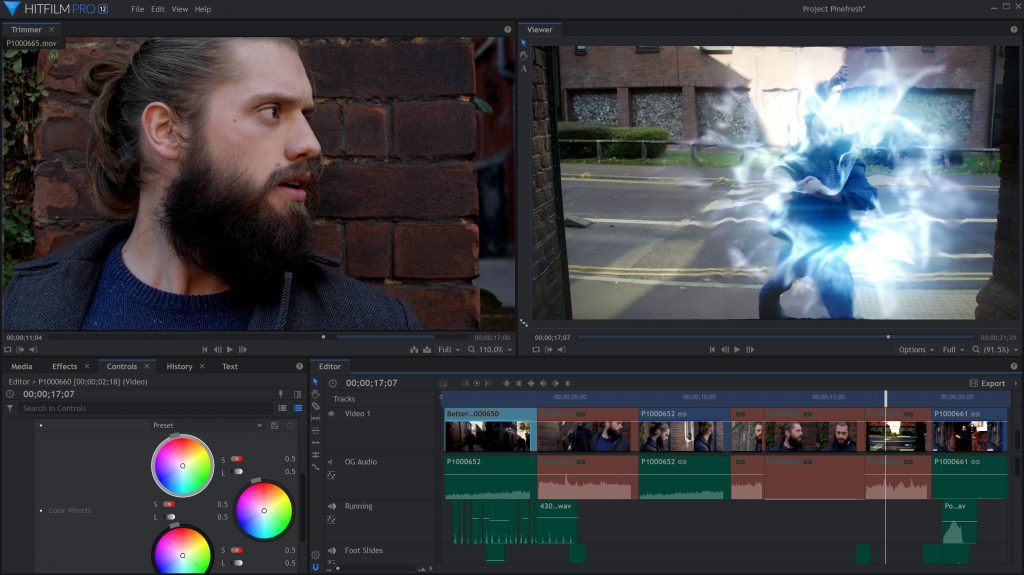 HitFilm Pro 12 interface with magic energy effects and color correction wheels