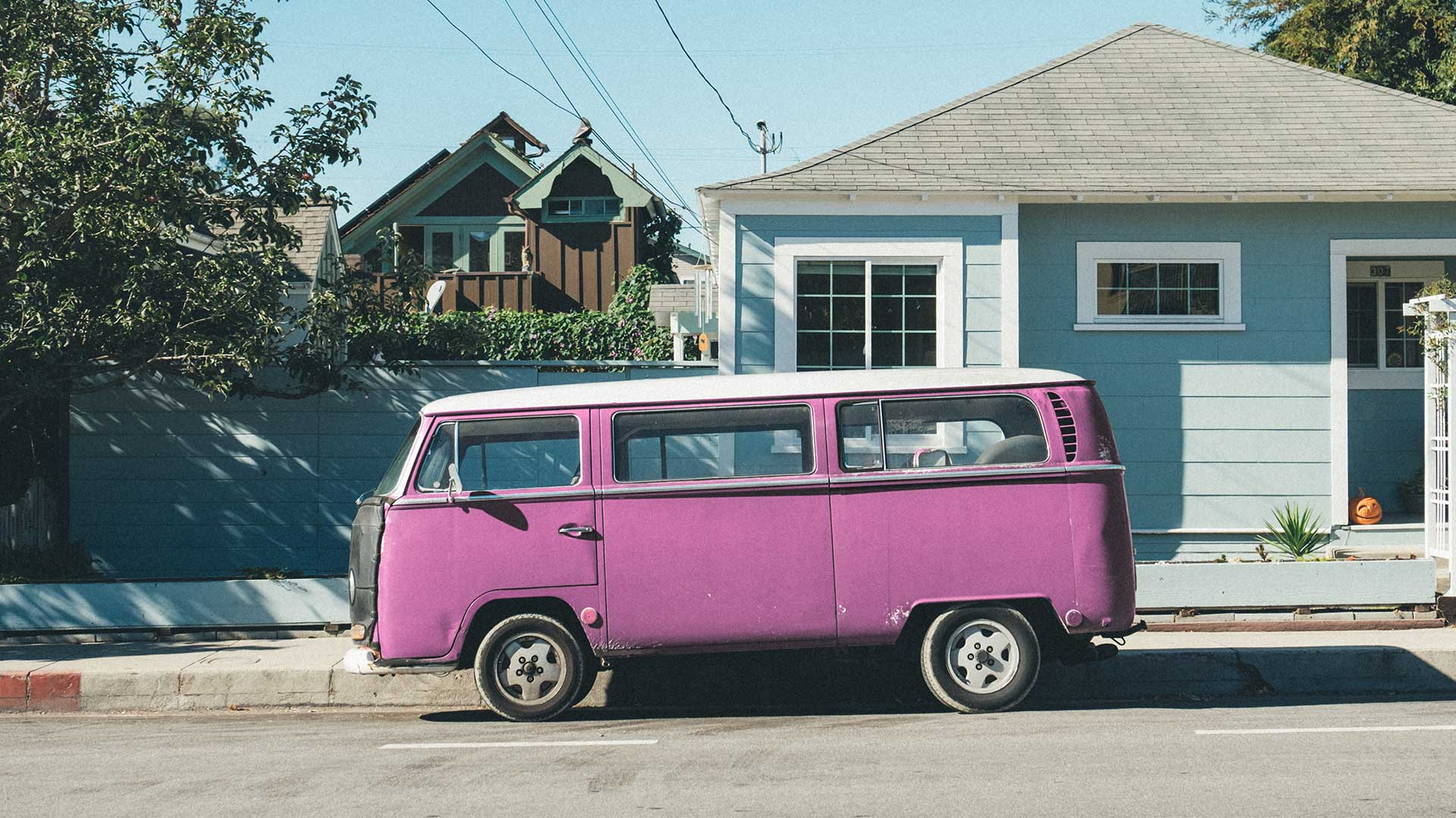 VW campervan pink colorized with Imerge Pro color adjustment effect