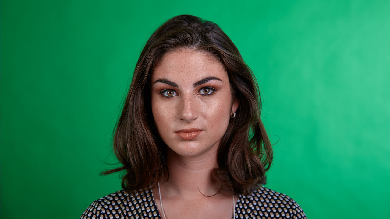 Green screen headshot (before)