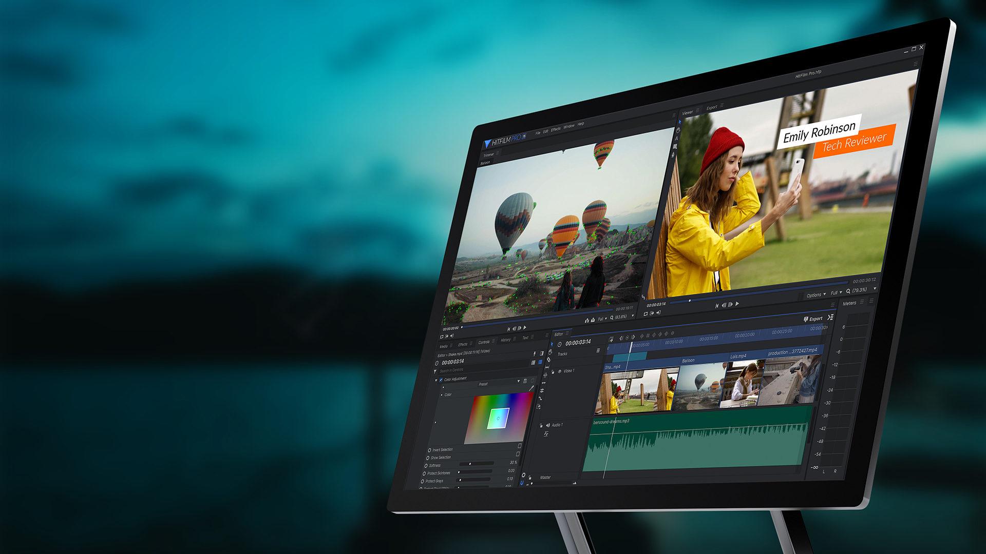 HitFilm Pro 15 interface on desktop PC montior