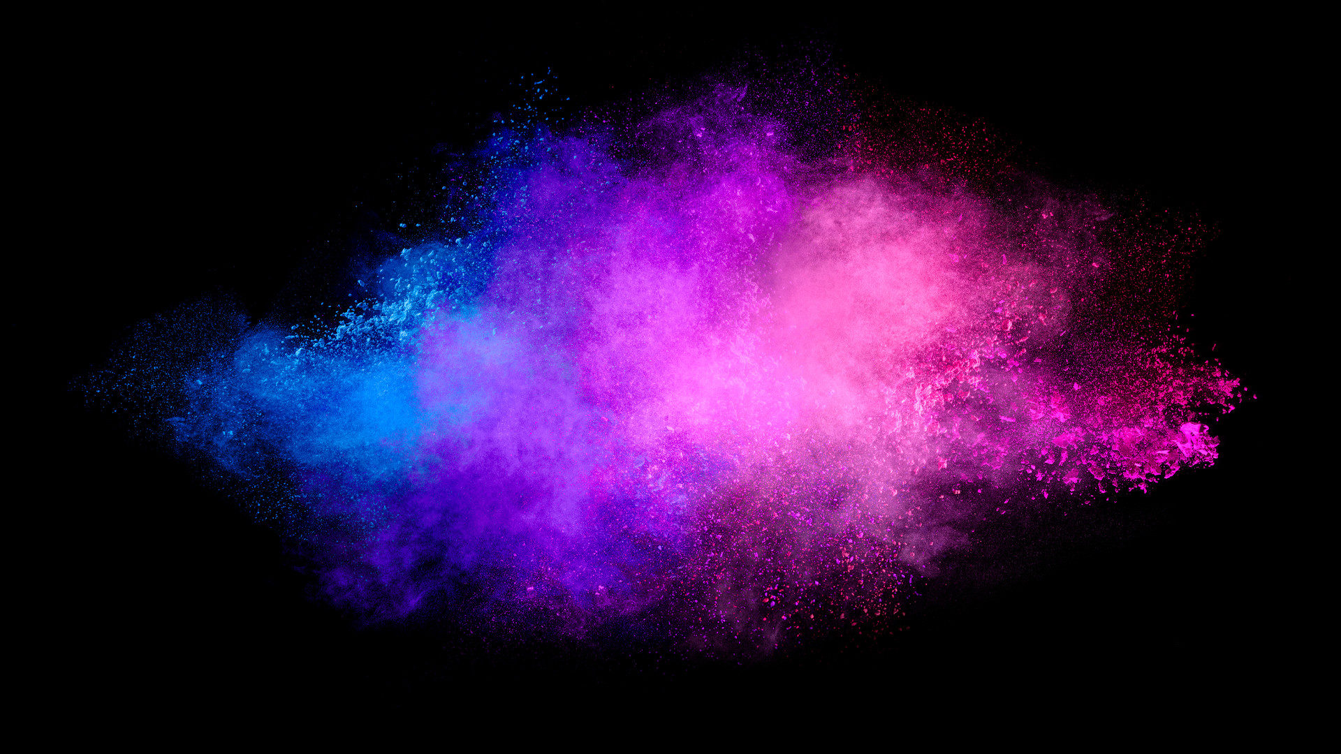Pink and blue powder cloud colour burst abstract background