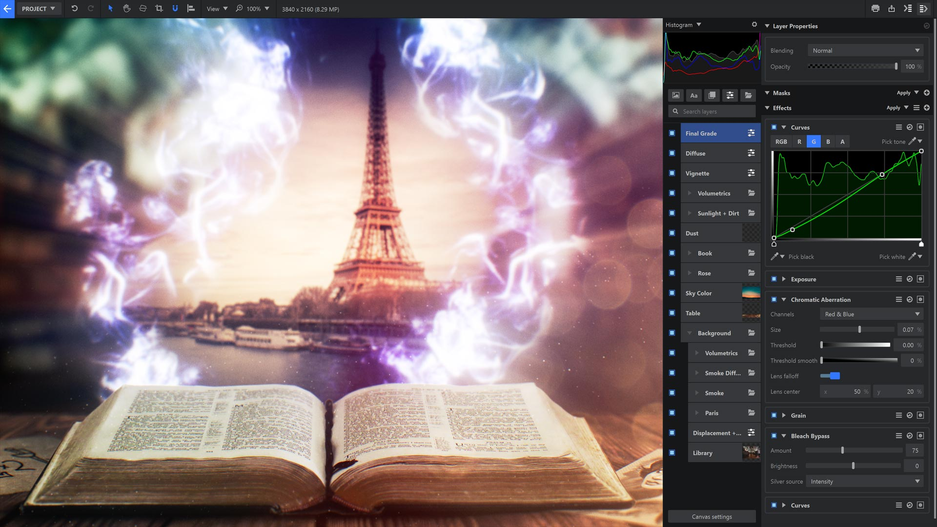 Fantasy composite of Spellbook with eiffel tower and magic effects in Imerge Pro
