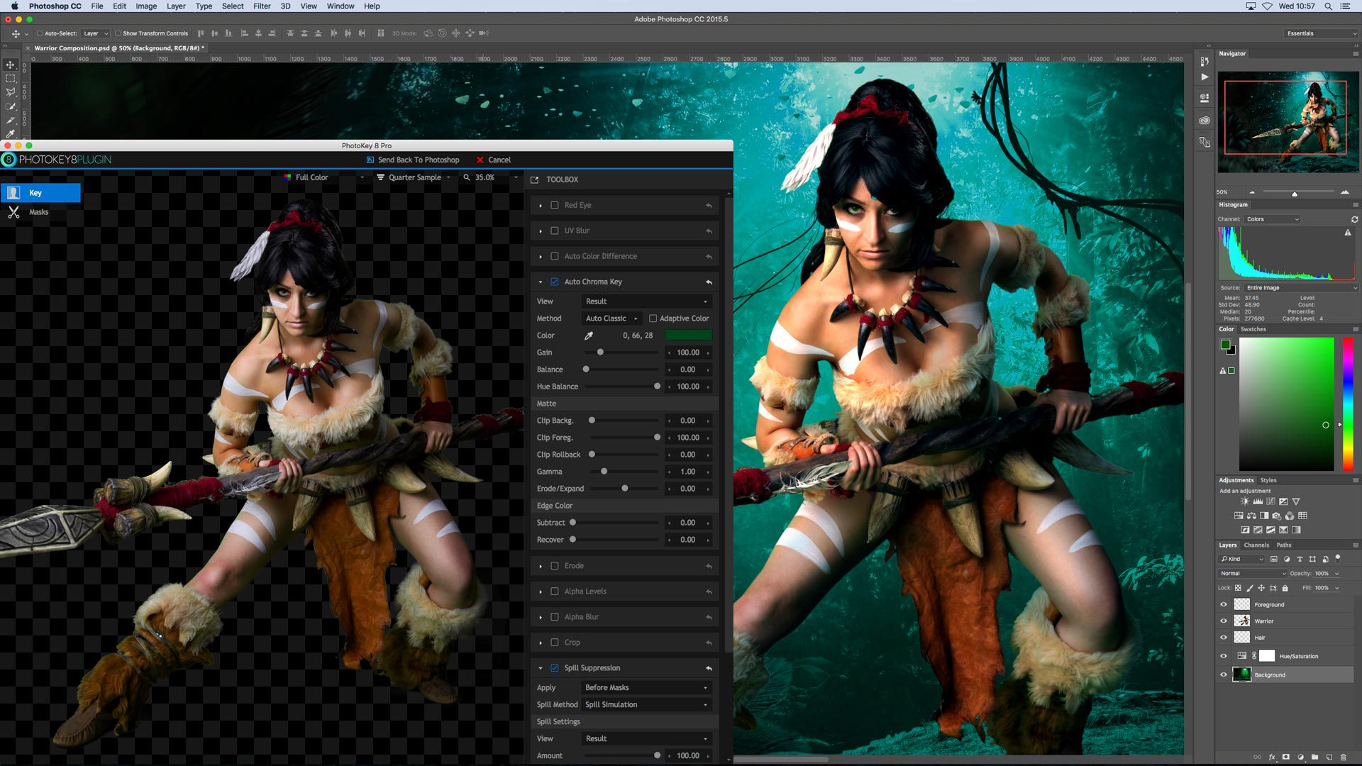 PhotoKey Pro chroma key software interface for digital artwork (fantasy composite)
