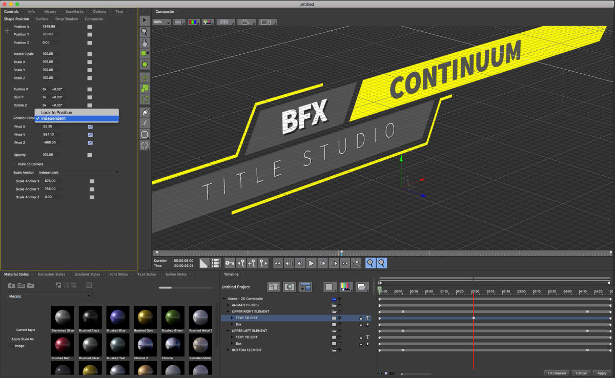 Interface of Boris FX Continuum titling studio effects software