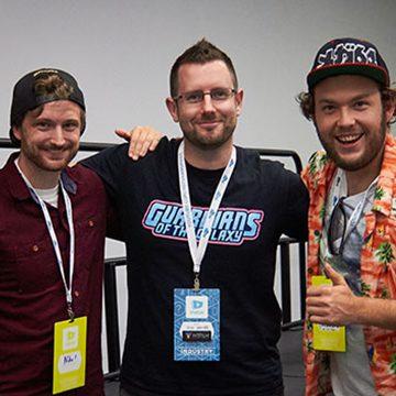 Sam Gorski and Niko Pueringer (Corridor Digital) with Josh Davies (FXhome)