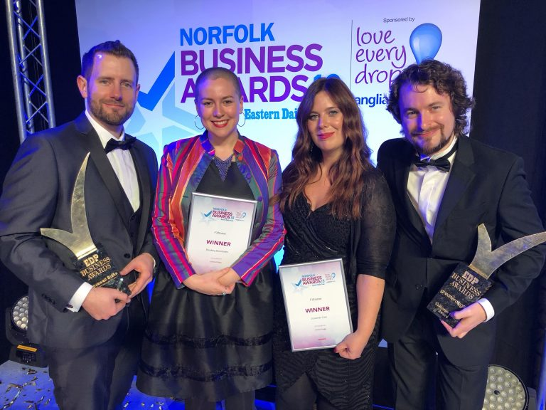 FXhome team inc. Josh Davies (CEO), Kirstie Tostevin (Marketing Manager), Andrea Wake (COO) and Dan Wood (Web Developer) at Norfolk Business awards