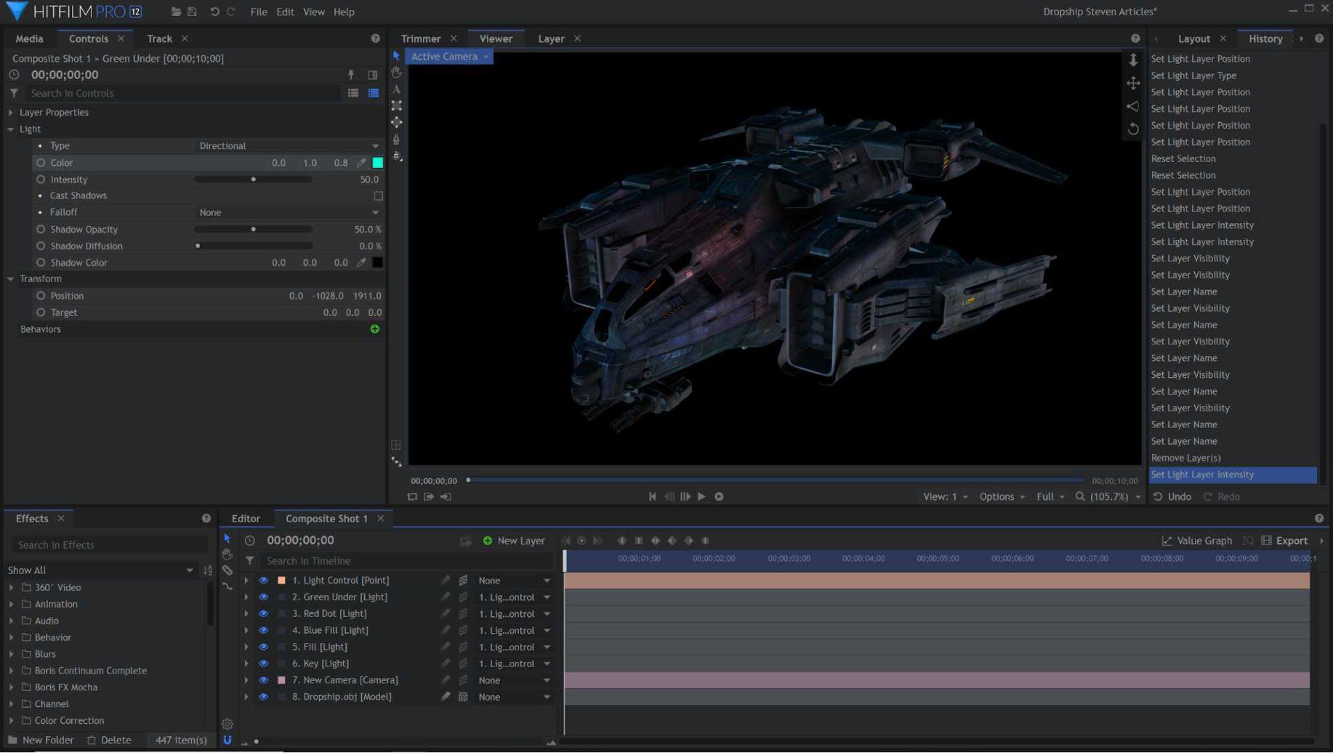 3D model lighting in HitFilm Pro