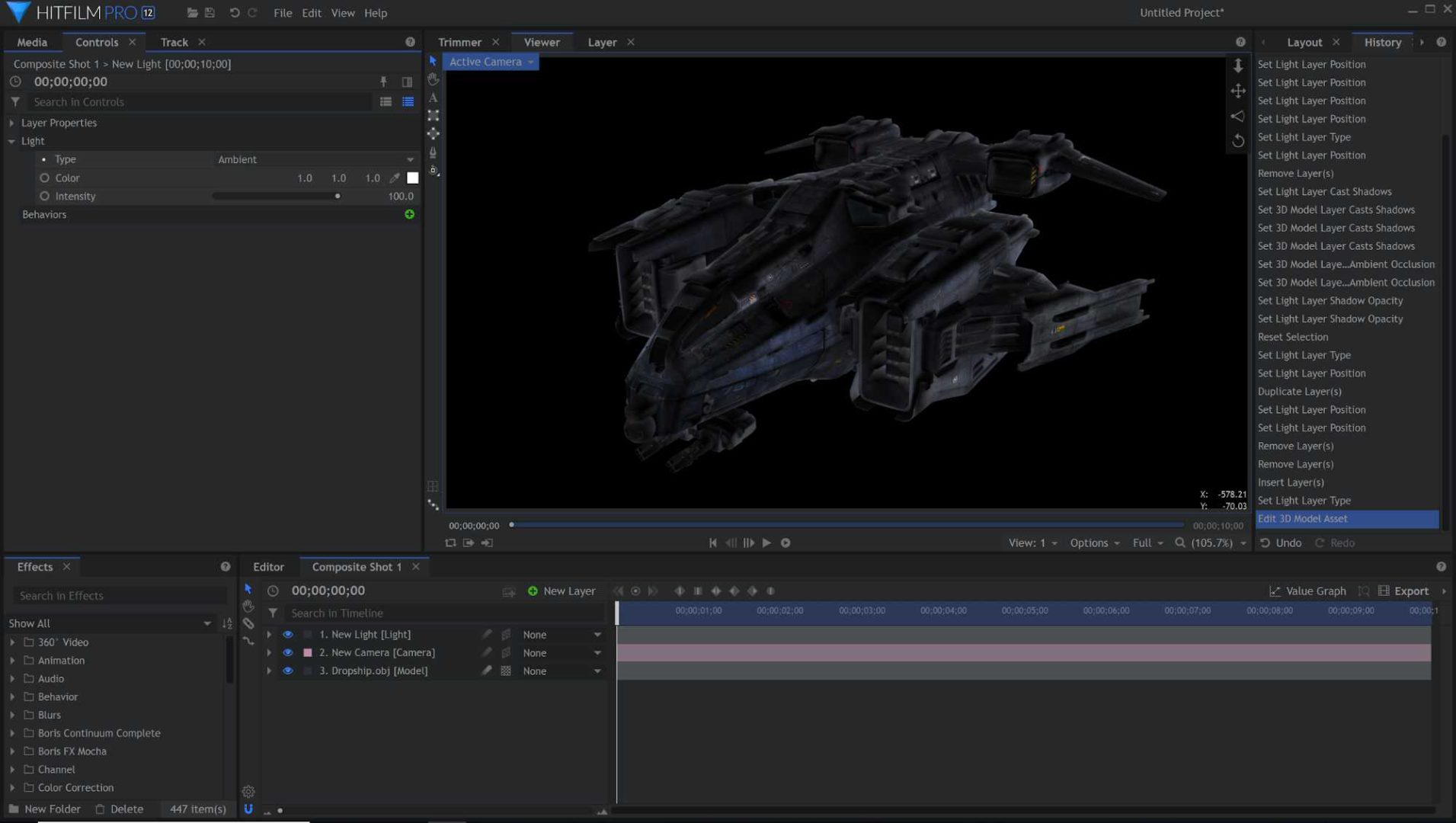 3D model textures in HitFilm Pro
