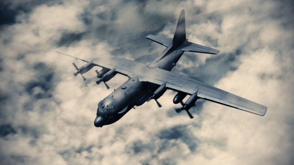 3D AC130 Bomber plane model VFX - HitFilm Update