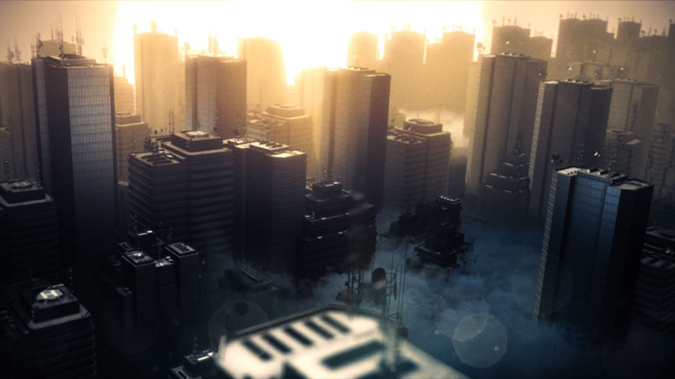 Dusty city generated with 3D particle simulator FXhome HitFilm Pro