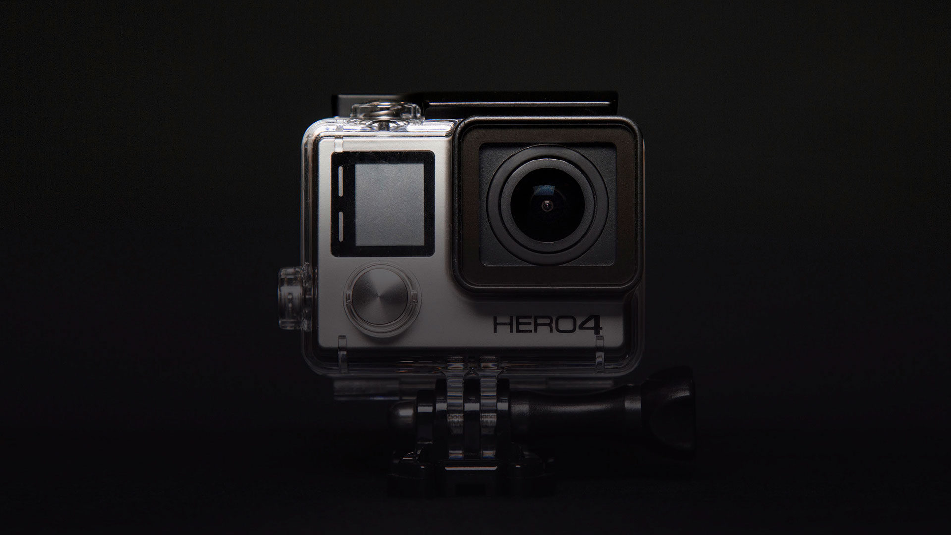GoPro camera on black background
