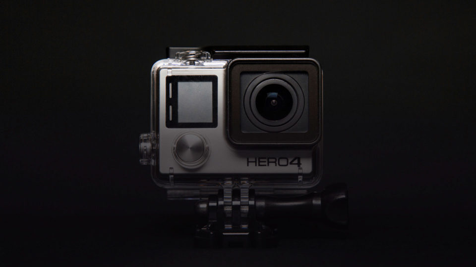 GoPro camera on black background