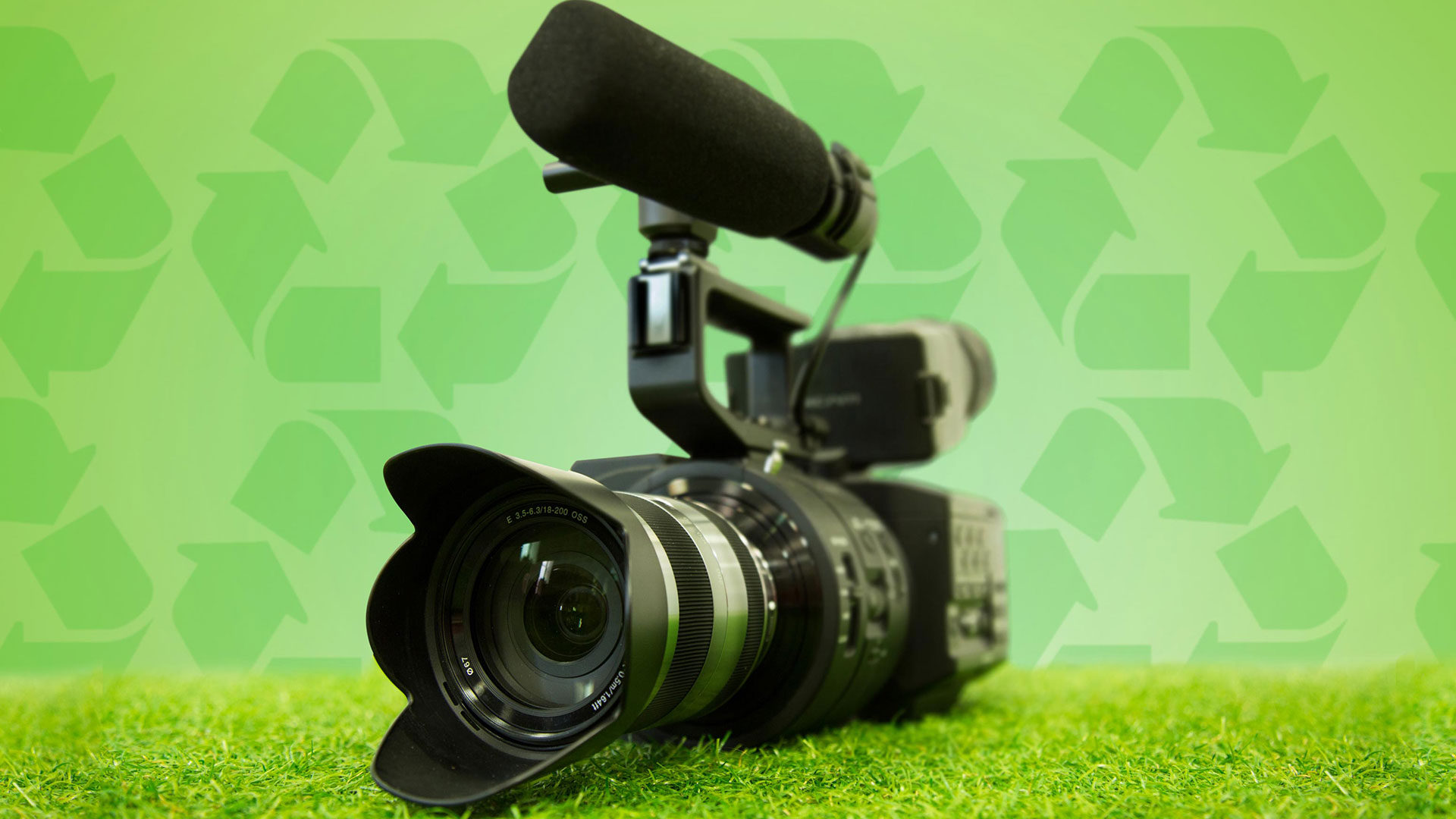 Eco-friendly filmmaking - video camera with eco-background
