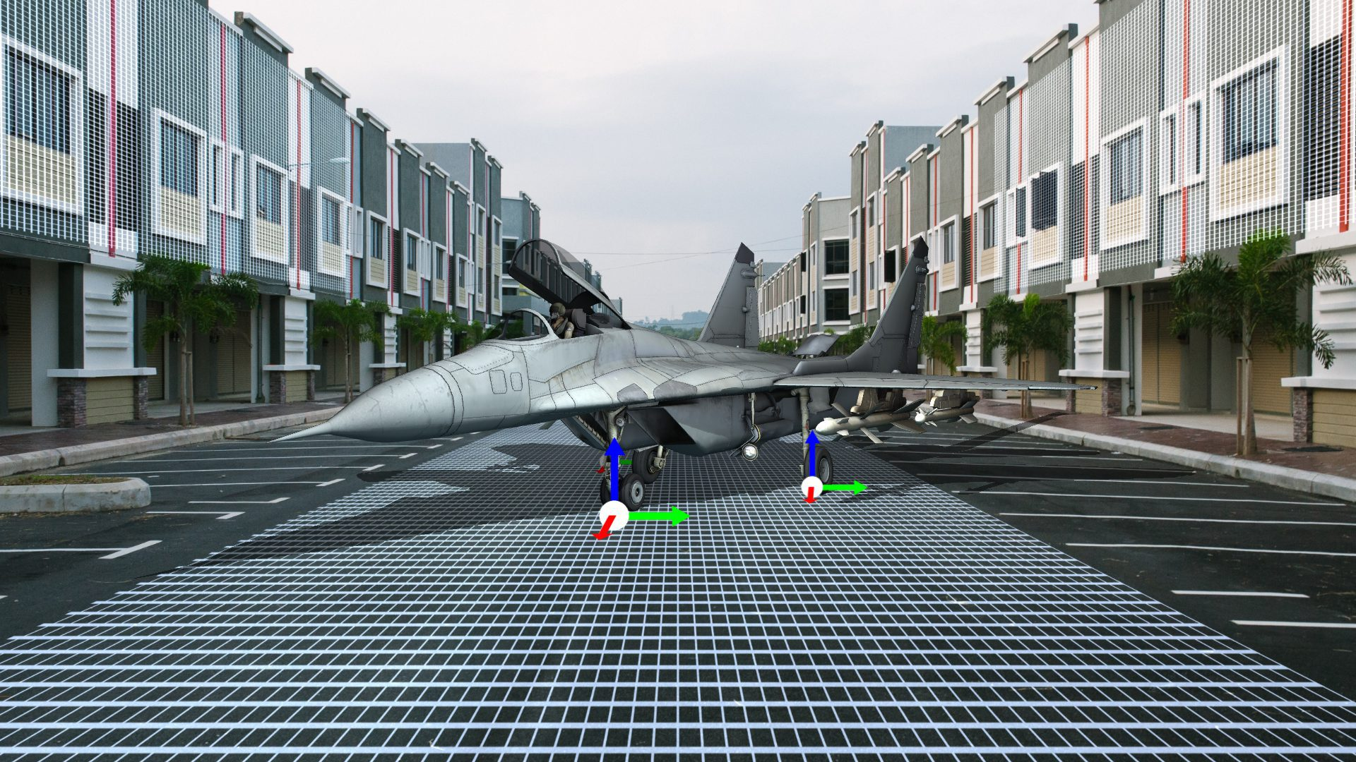 3D model Jet on 3D tracked environment using CamTrackAR 3D tracking app for iOS