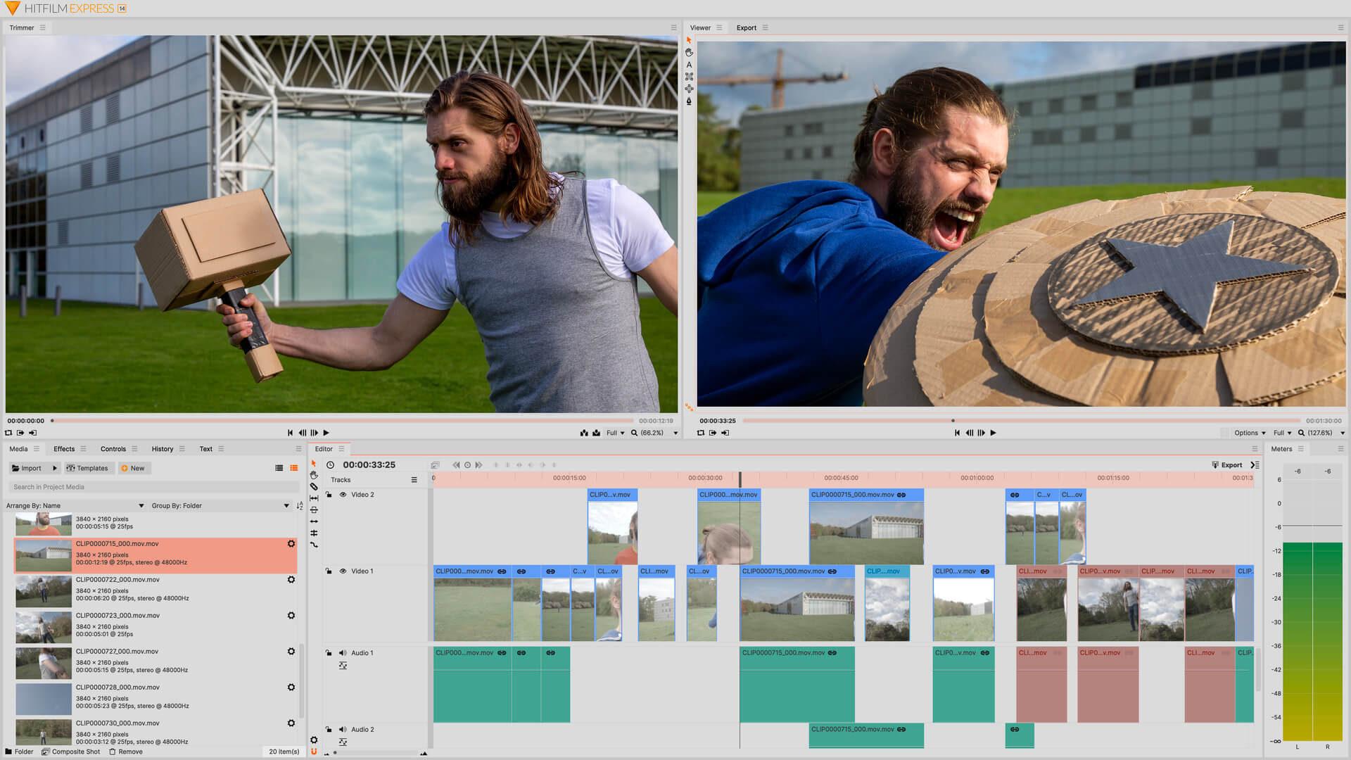 HitFilm Express free video editing software interface