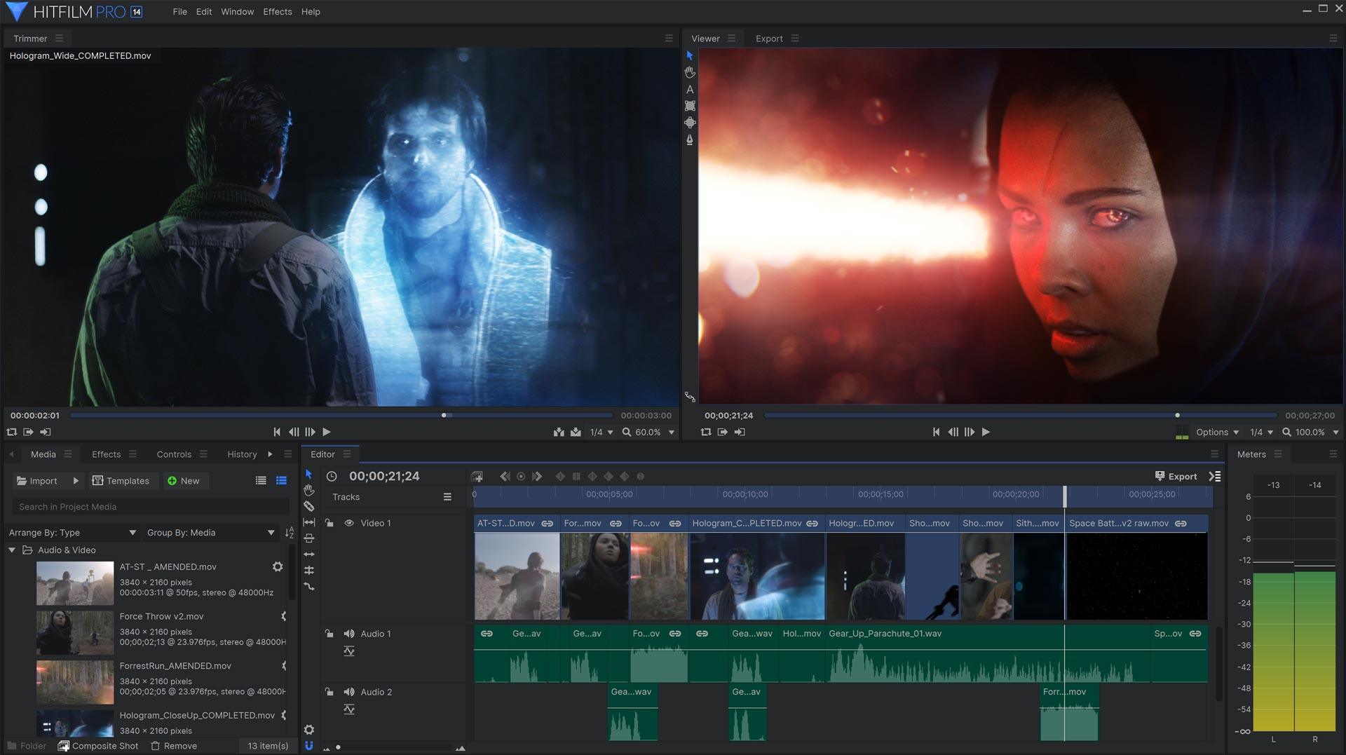 HitFilm Pro VFX software interface with visual effects features for Rise of the Dark Side Masterclass