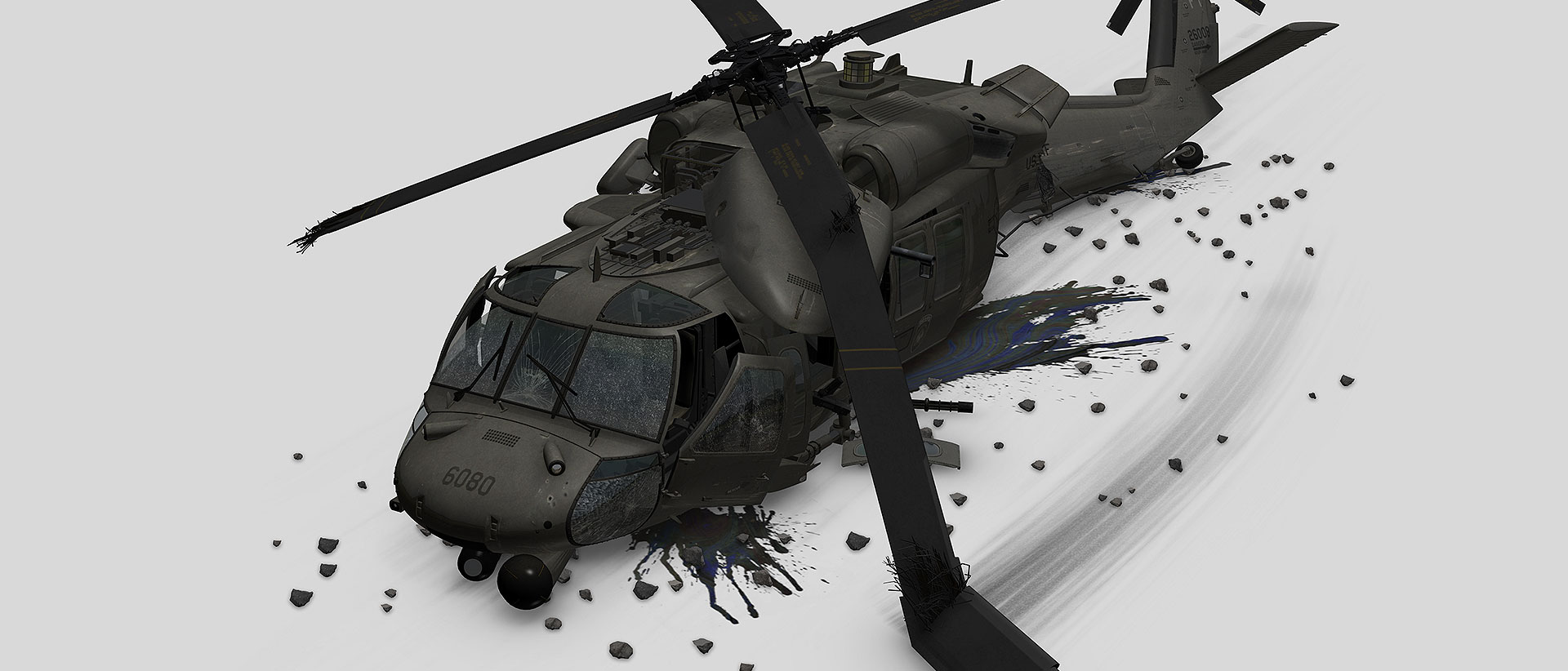 3D Blackhawk helicopter model with debris on white background