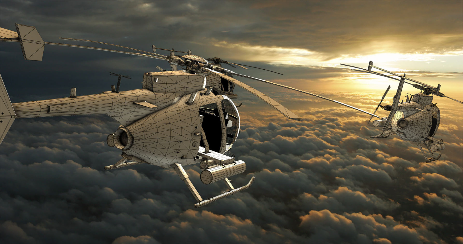 3D littlebird helicopter composite wireframe - visual effects tips for shooting realistic shots