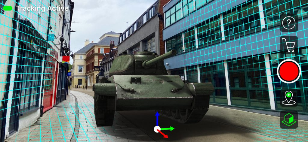 CamTrackAR interface - tank 3D test asset tracking markers