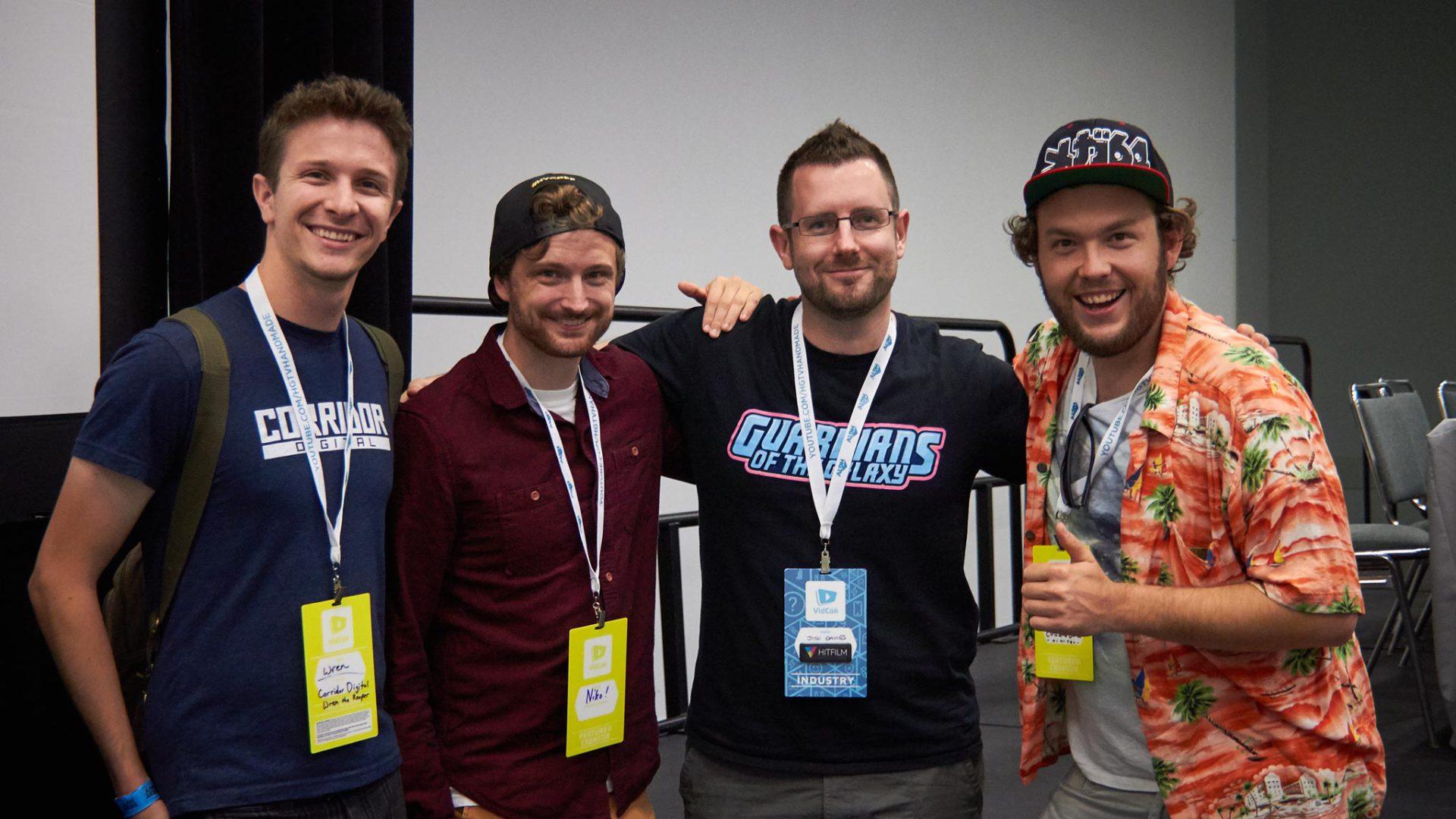 Josh (FXhome CEO) with Sam Gorski, Niko Pueringer, and Wren Wreichmann from Corridor Digital