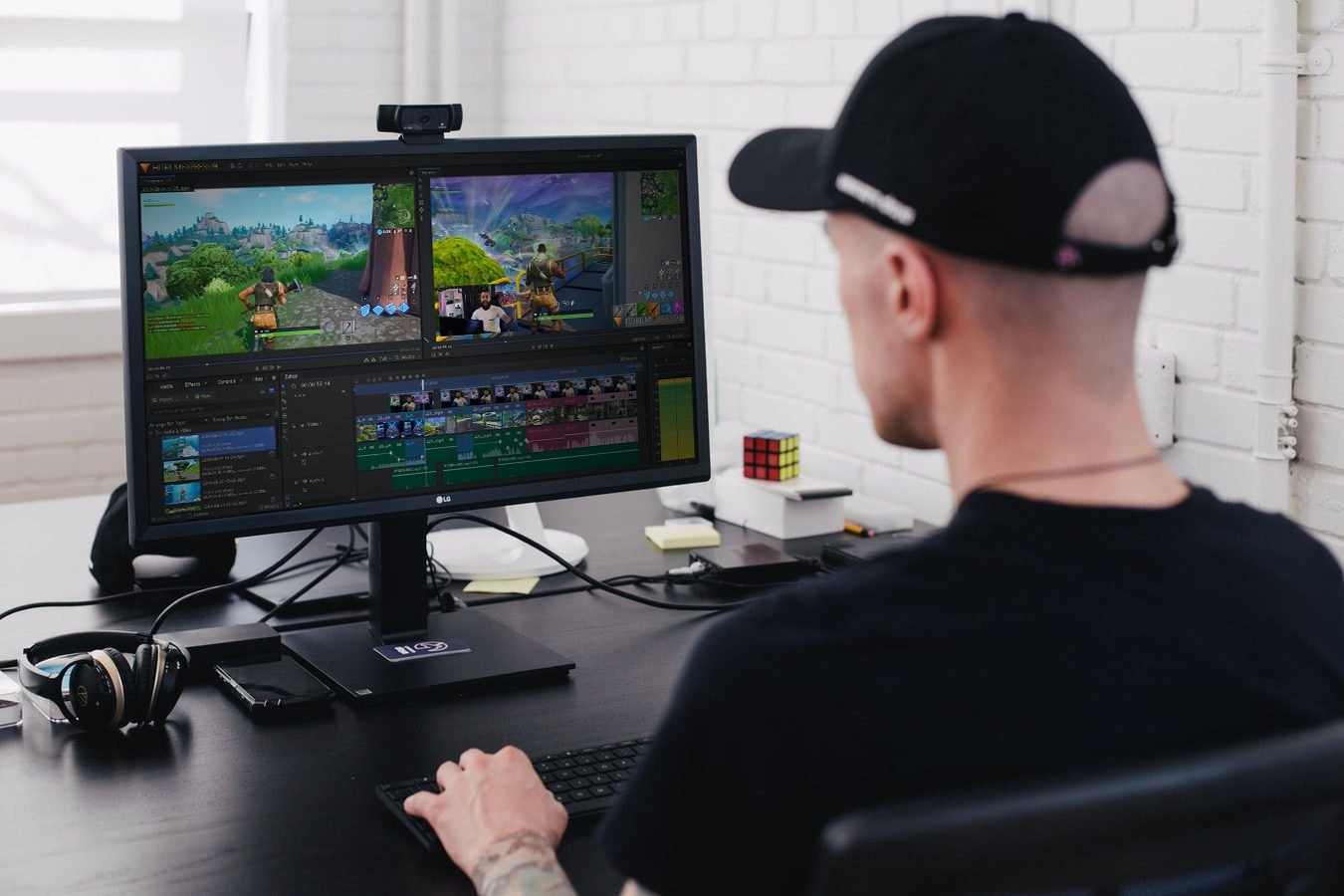 YouTuber editing a Fortnite gaming video in HitFilm Express free video editing software