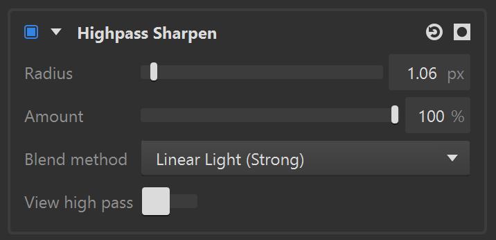 Highpass sharpen toolbar in Imerge Pro 3