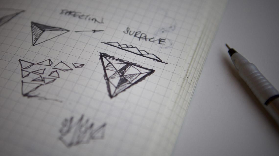 HitFilm Logo design process - concept drafting