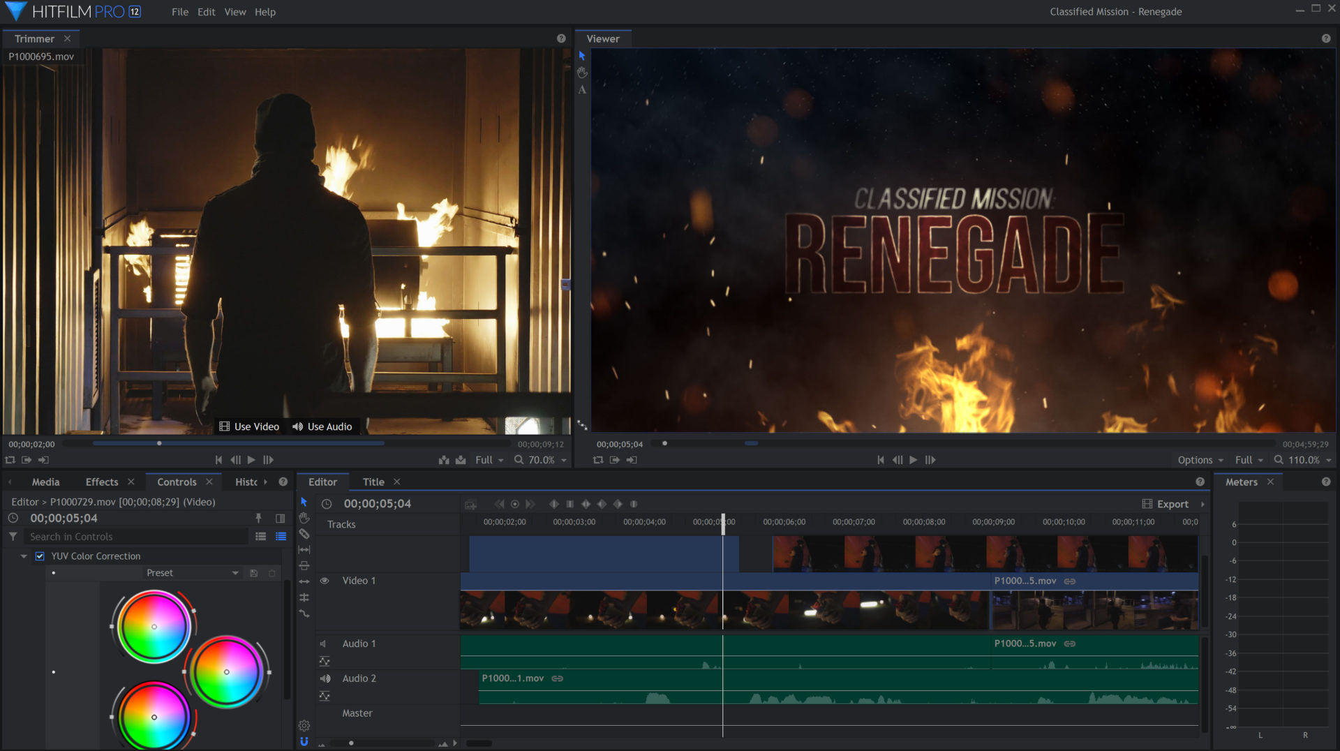 HitFilm Pro 12 Interface with 'Renegade' action movie title sequence and color correction wheels