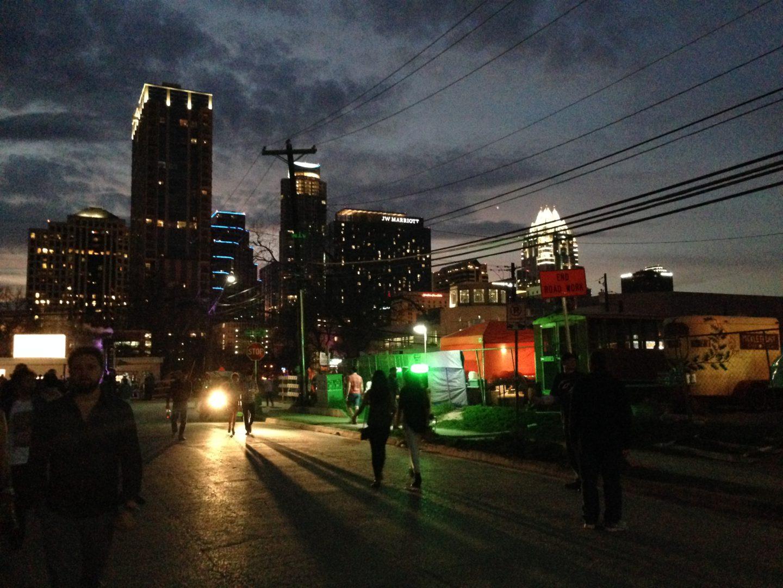 Austin street at night