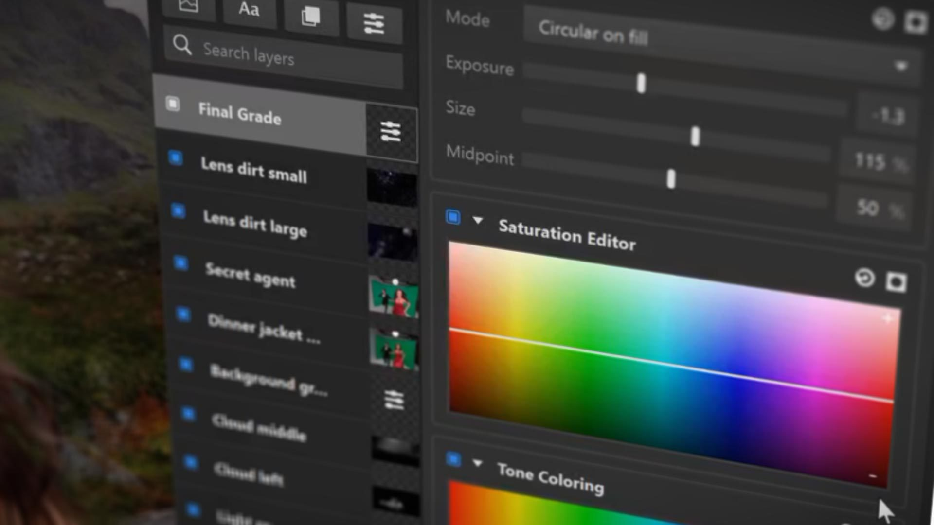 Imerge Pro 2 interface with color grading effects