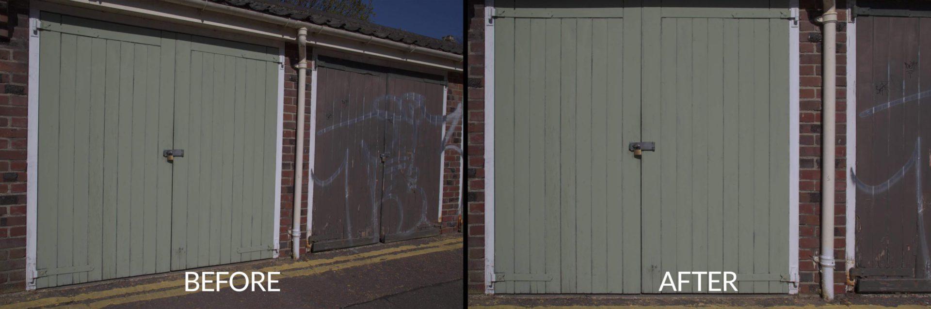 Keystone correction of garage door image - Imerge Pro 4 effects