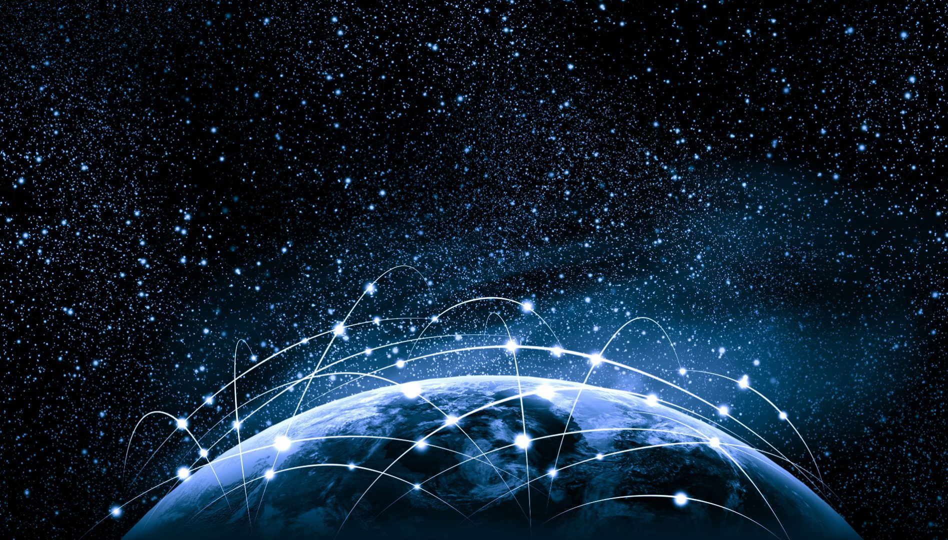 Original stock image - network of particles above planet atmosphere - Sergey Nivens
