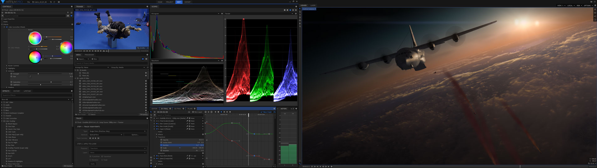 HitFilm Pro interface with color scopes and multi-screen preview of plane composite from Halo Jump VFX masterclass