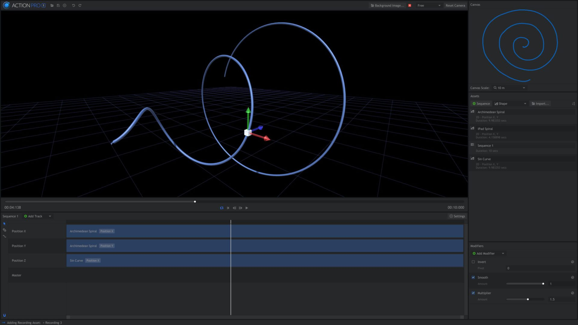 Action Pro interface - motion capture software