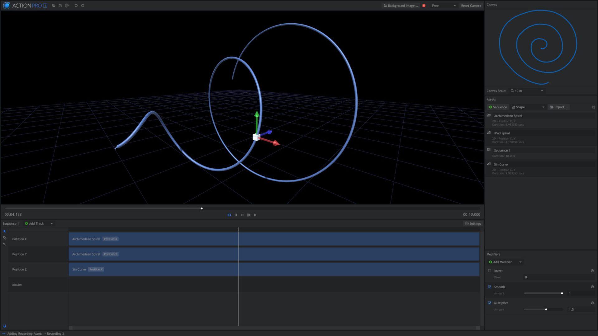 Action Pro interface - motion capture software