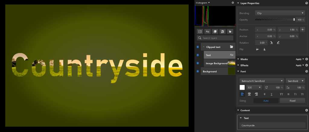 Clip blending mode in Imerge Pro - 'countryside' text graphics