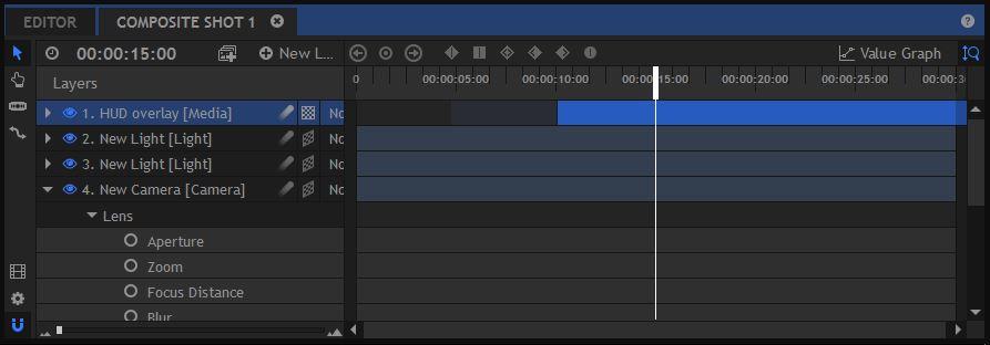 HitFilm Pro composite shot timeline media layers interface