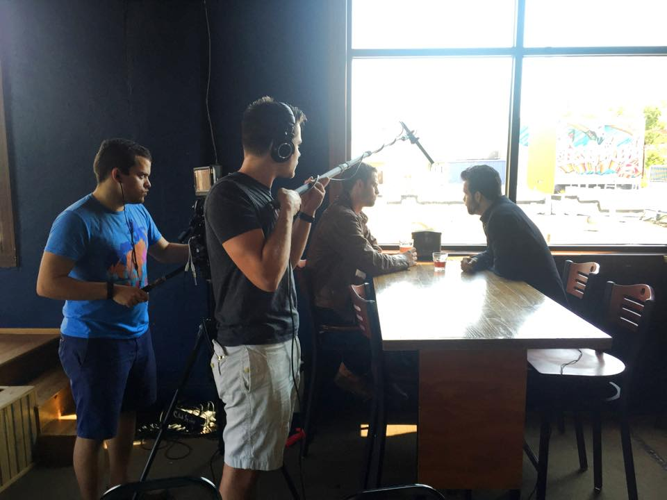 Atomic Productions on set with camera and sound boom