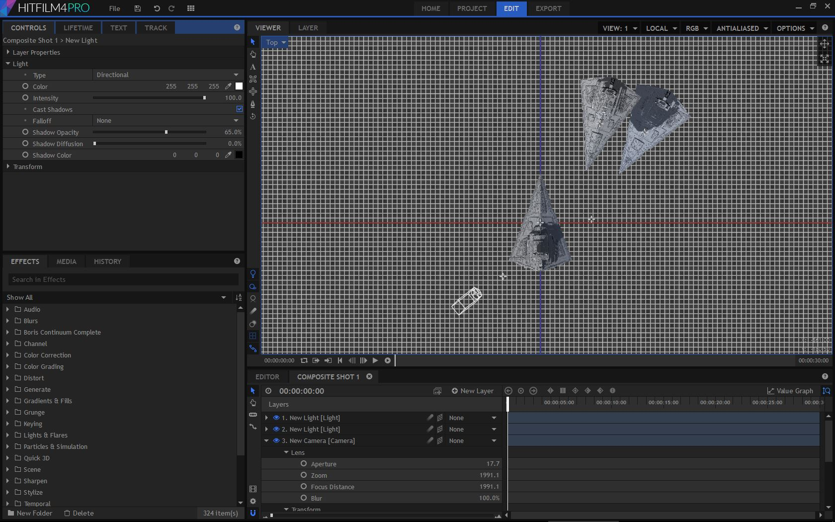 Orthographic views - HitFilm Pro 3D space interface