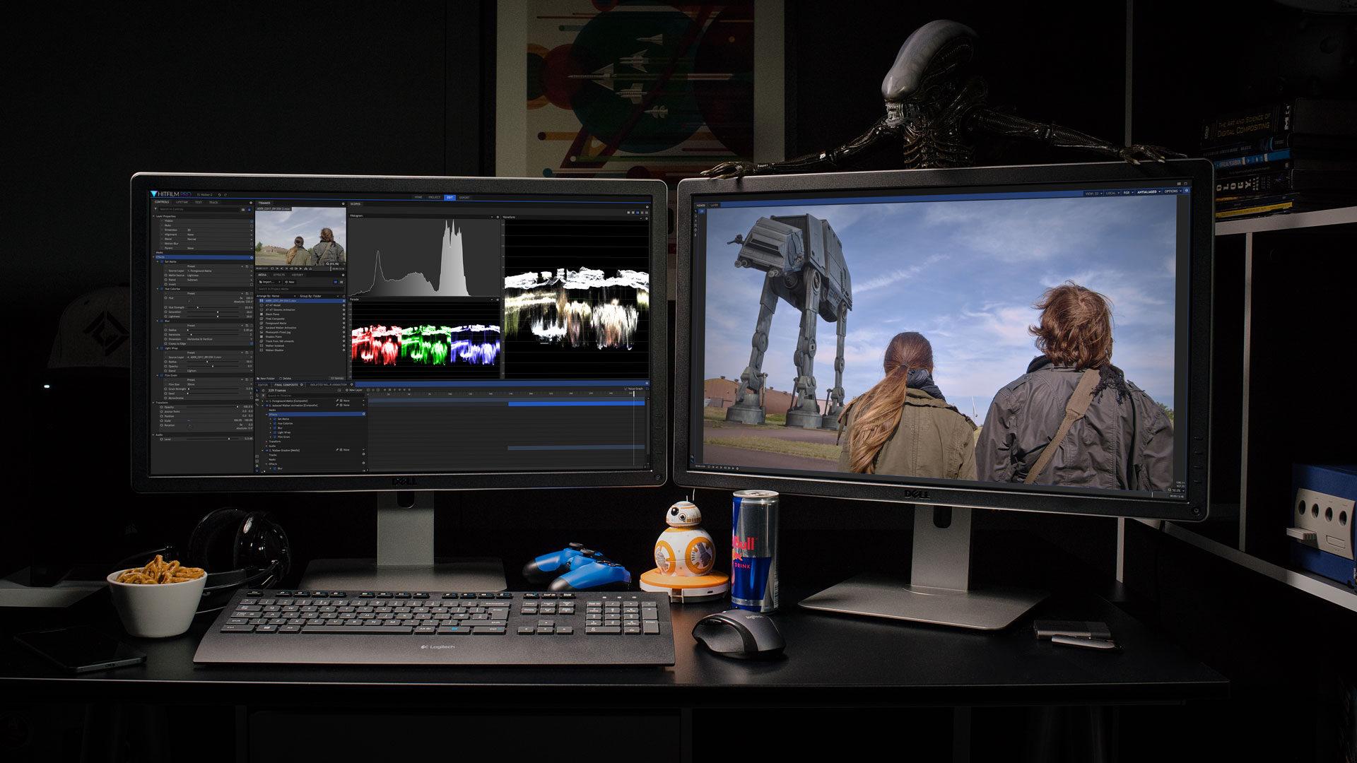 HitFilm Pro 2017 interface on dual monitor PC