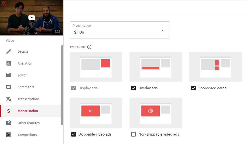 YouTube ad revenue settings
