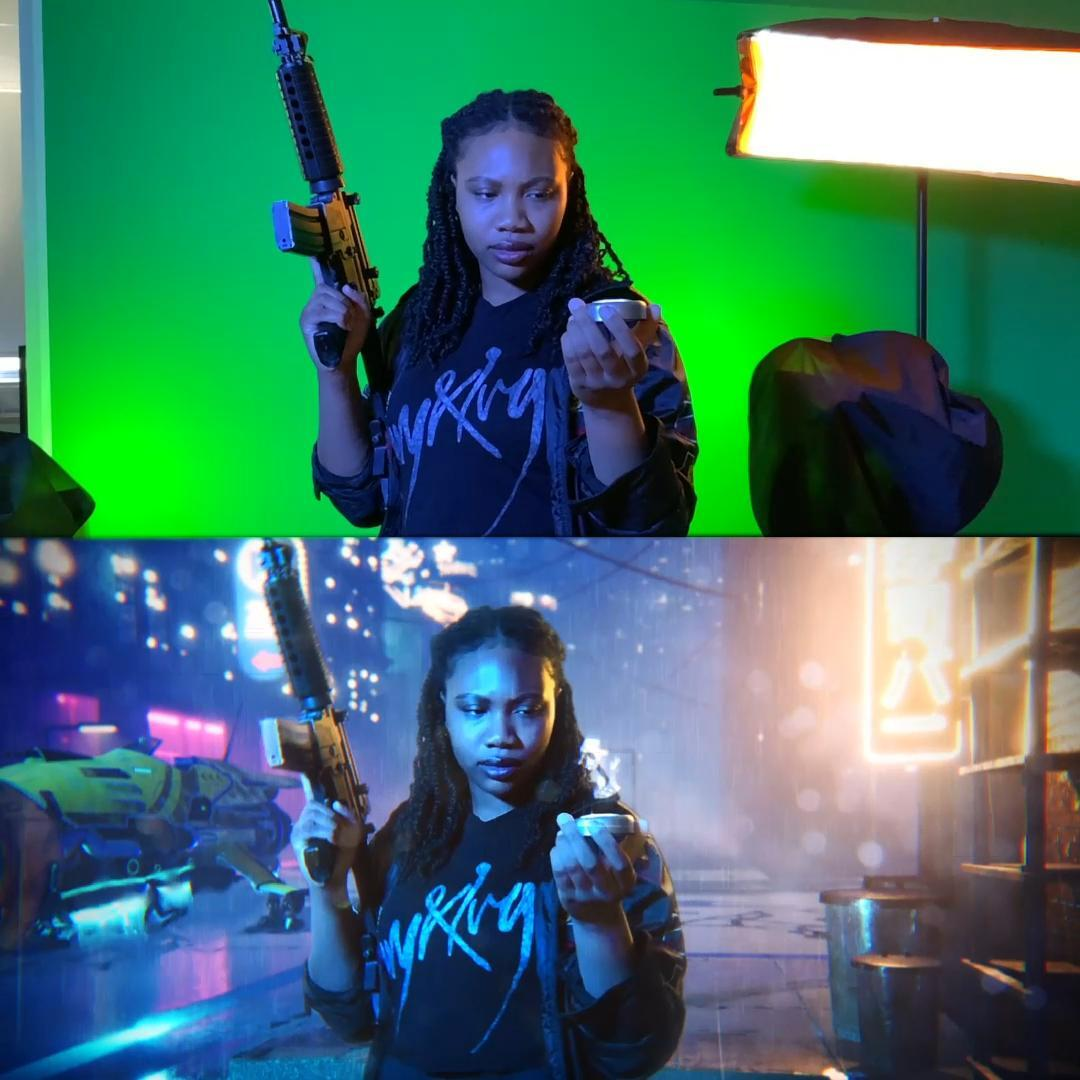 Before and after - green screen cyberpunk environment - how to create a cyberpunk scene with VFX