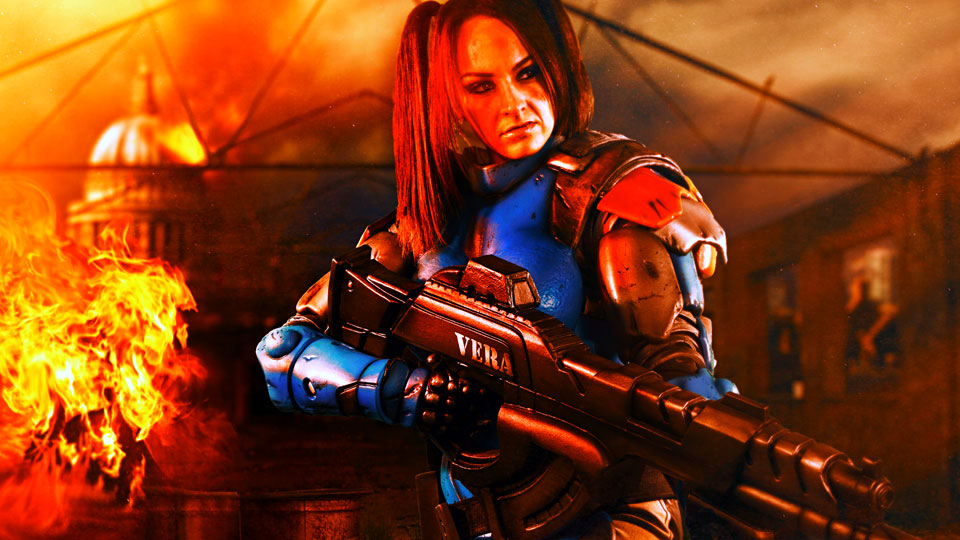 Warhammer 40k cosplay space marine photoshoot using Color Vibrance effect