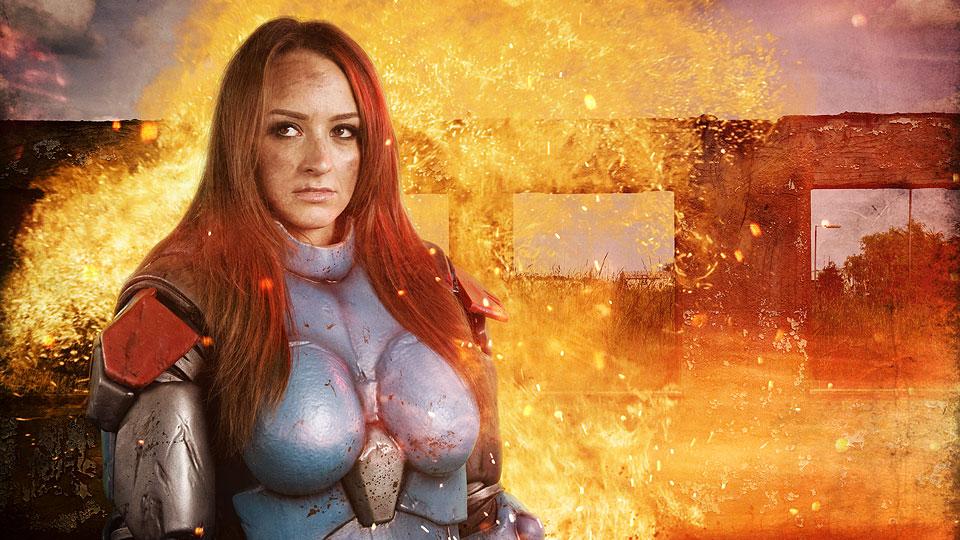 Warhammer cosplay actor in photoshoot