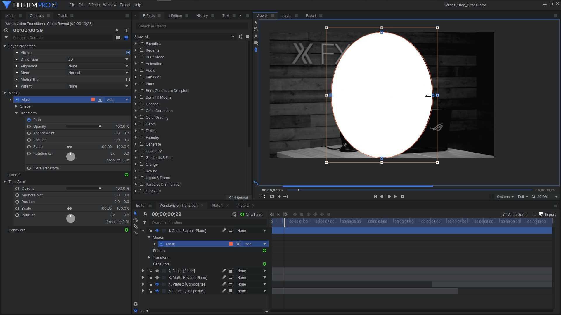HitFilm Pro interface - reality glitch effect - using a mask