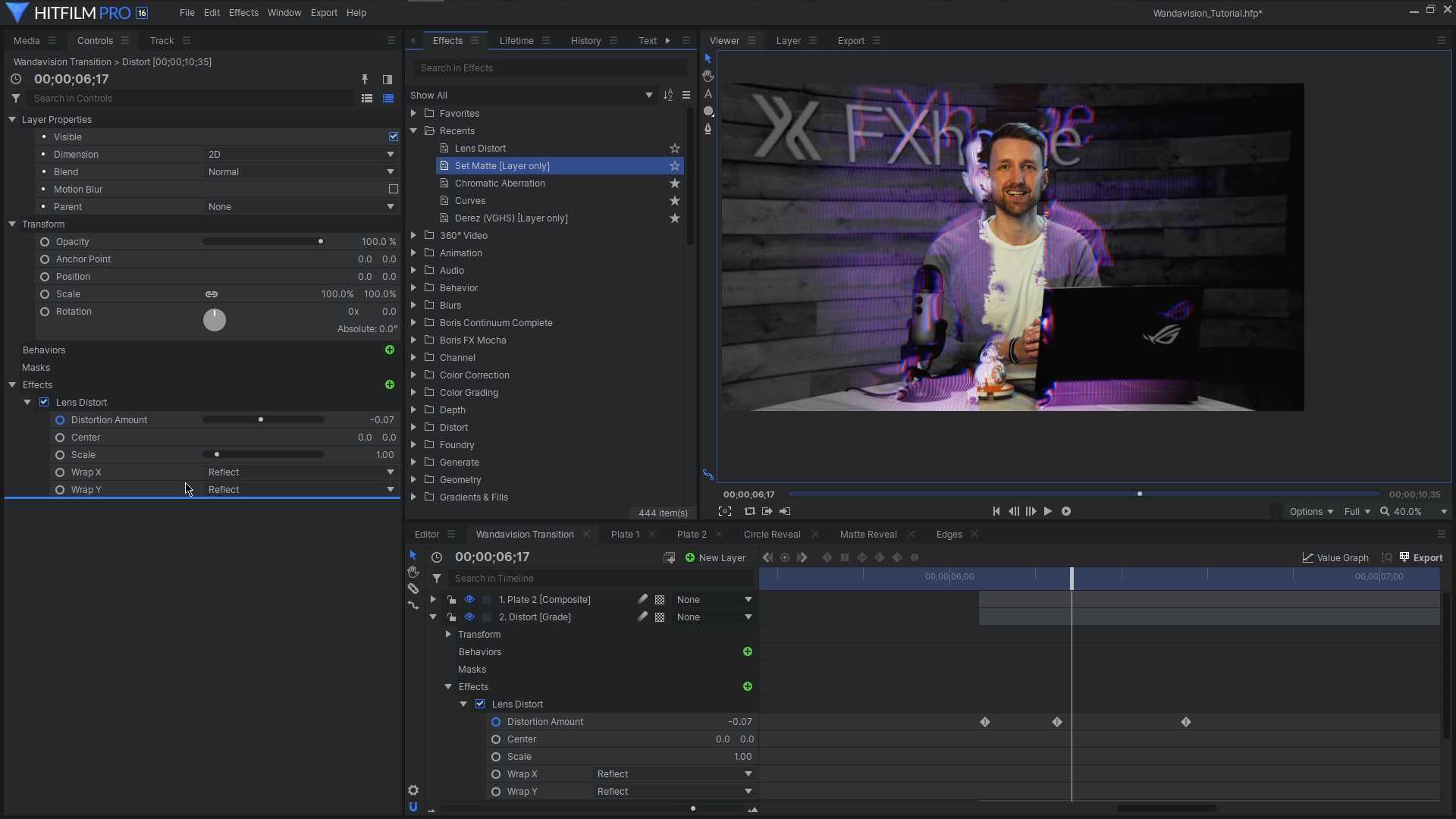 HitFilm Pro interface - Reality glitch effect