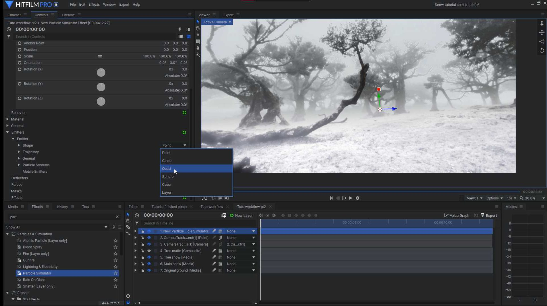 Creating snow particles with the HitFilm Pro particle simulator - snow VFX tutorial