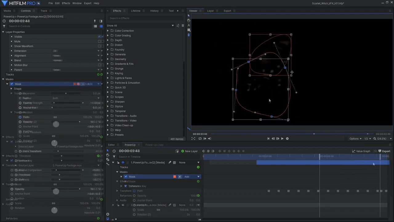 Rotoscoping in HitFilm Pro interface